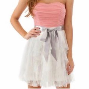 pink strapless mini dress!